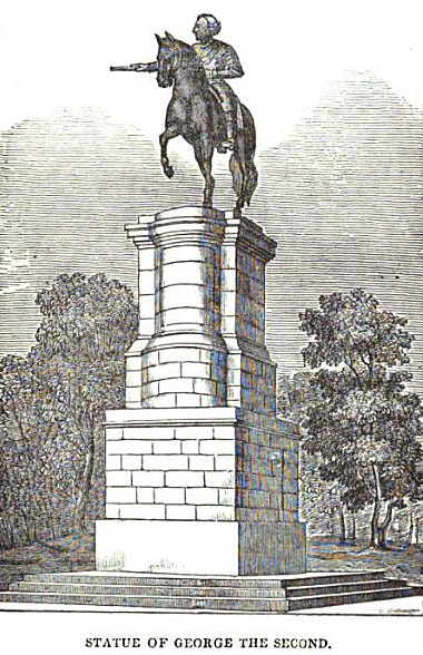 George II statue in St. Stephen's Green (1835, Dublin Penny Journal)