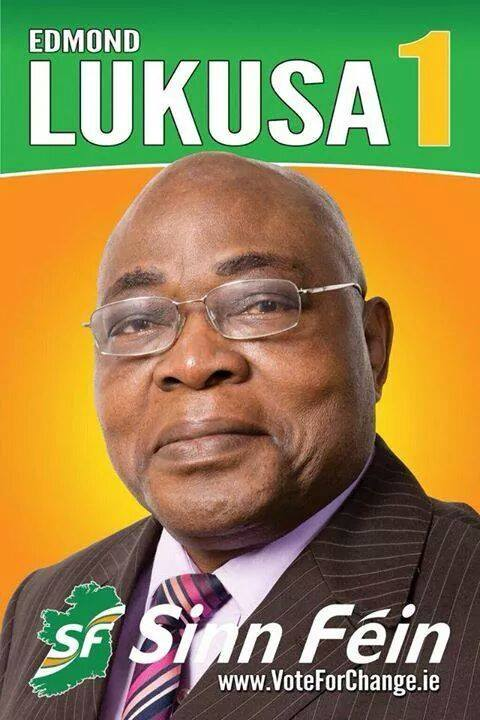 Edmond Lukusa's election poster (Credit: Sinn Féin)