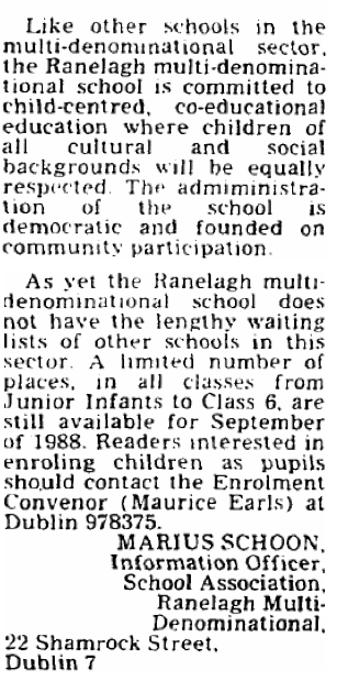 Letter titled 'A School Where All Welcome' to Irish Independent (27 June 1988)