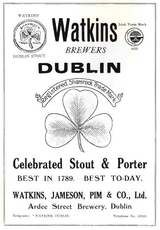 Advertisement for Watkins' Brewers. From the Aonach an Garda programme,1926.