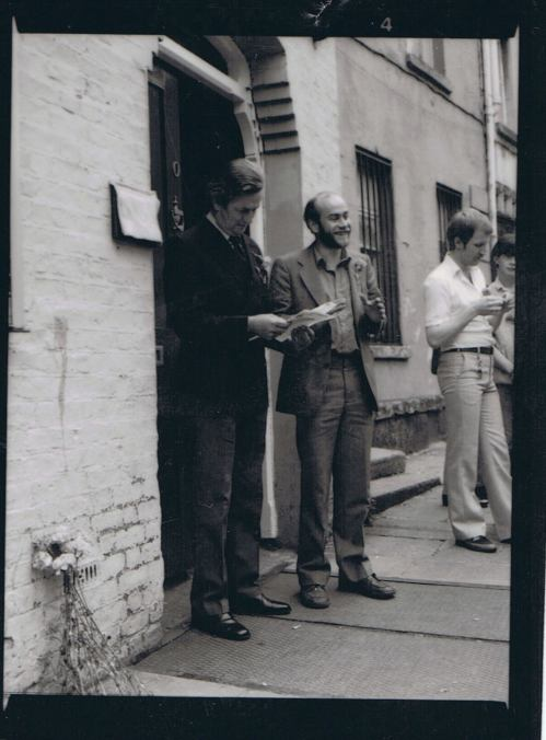 Hirschfeld Centre, Dublin. Unveiling of brass plaque and dedication of 10 Fownes Street by Dr. Noel Browne, on 28th June 1980. Photographed by Derek Speirs. [NLGF Collection, IQA/NLI] Credit- FB.com/IQAadvisorygroup