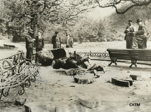 Press photograph showing the damage to George II monument.