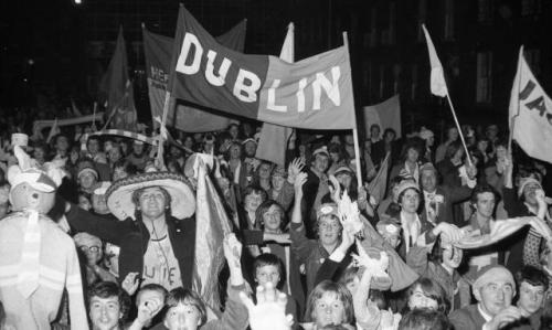 "Dublin fans brought a unique colour and support to the GAA in the period. ""Heffo's Army', Civic Reception for All-Ireland Champions, O'Connell Street, 26 September 1976"" (Image Credit: Dublin City Public Libraries and Archive)"
