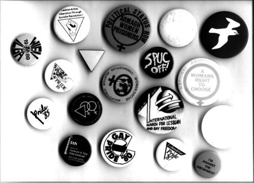 Badges, buttons and stickers from the Irish Queer Archive. Credit - FB.com/IQAadvisorygroup