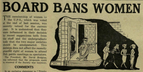 A 1955 'Trinity News' headline reporting on the banning of women from societies in Trinity College ( www.trinitynewsarchive.ie )