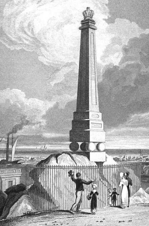 George IV monument at Dún Laoghaire. Illustration via www.archiseek.com