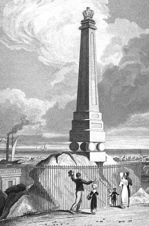 George IV monument at Dún Laoghaire. Illustration via www.archiseek.com