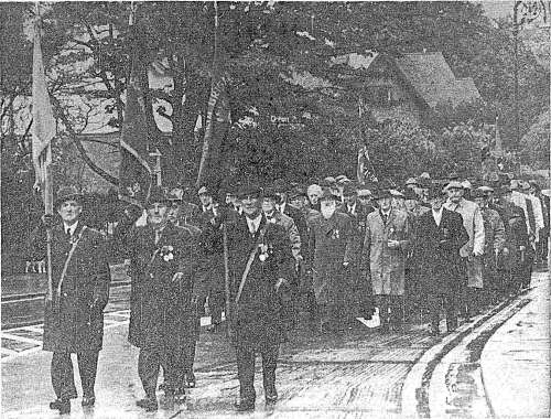 IRA veterans march in formation to the memorial unveiling. Credit - Irish Independent (14 May 1973)