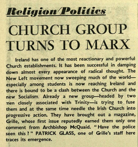 Article on 'Grille' from Trinity News (31 October 1968)