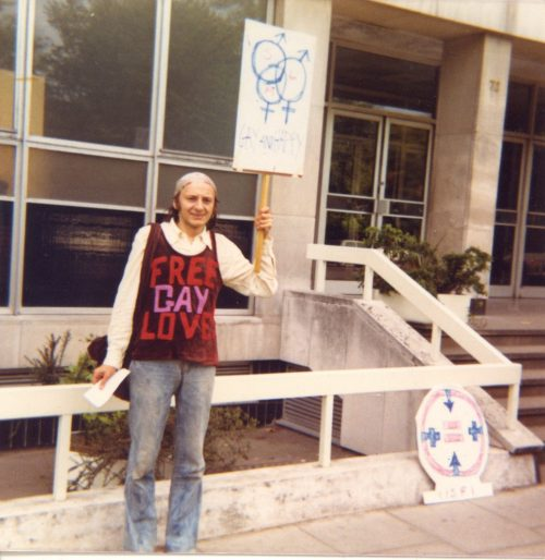 Gay activist outside the Department of Justice. Credit - Irish Queer Archive (Facebook). David Norris Collection.