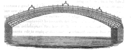 An 1816 illustration of the Ha'penny Bridge, the year the bridge opened to the public.