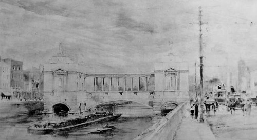 The proposed 1913 Hugh Lane gallery which would replace the bridge.