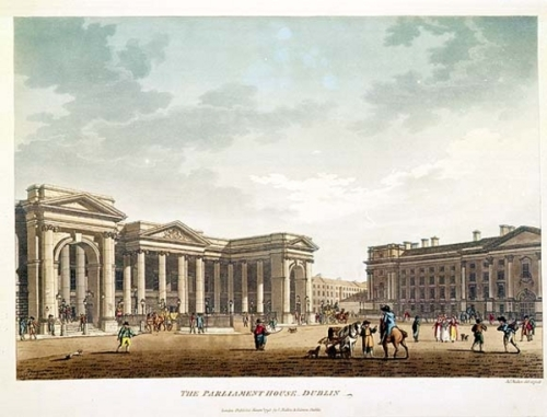 Parliament on College Green, which Benjamin Franklin visited. (NLI)