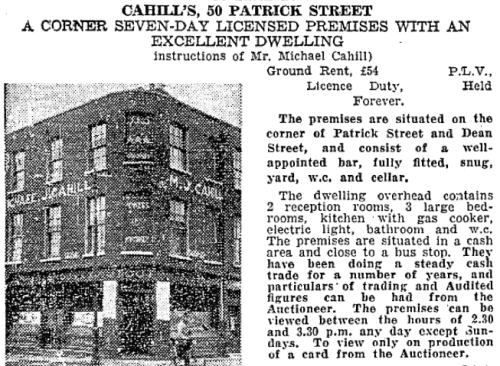 An advertisement for the sale of Cahill's. Credit - Irish Independent - 28 April 1945.