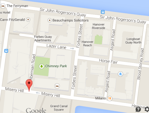 Google Maps showing the location of Misery Hill in Dublin's docklands.