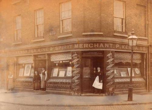 P. Kenna, Tea Wine & Spirit Merchant 50 Patrick Street Dublin. c. 1900. Credit - @OldDublinTown