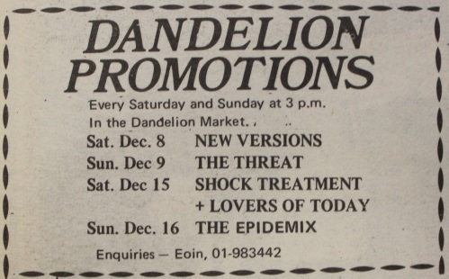 New Versions, The Threat and others in the Dandelion Market - December 1979. Credit - u2theearlydayz.com