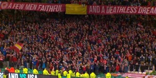 ' A Few Men Faithful And A Deathless Dream' - Saint Patrick's Athletic fans in Lansdowne Road yesterday.