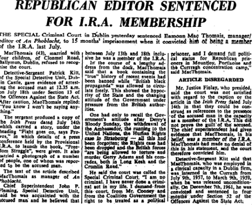 Irish Times report from October 1974, detailing the trial of MacThomáis.