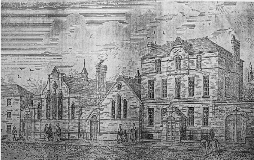 An etching of 10 Mill Street, published in The Irish Builder (1871). Credit - Clanbrassil Street 2, Sean-Lynch.