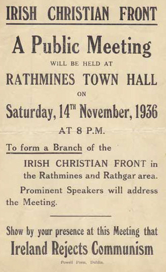 Poster for a Rathmines meeting of the Irish Christian Front, via Irish Election Literature (www.irishelectionliterature.wordpress.com)