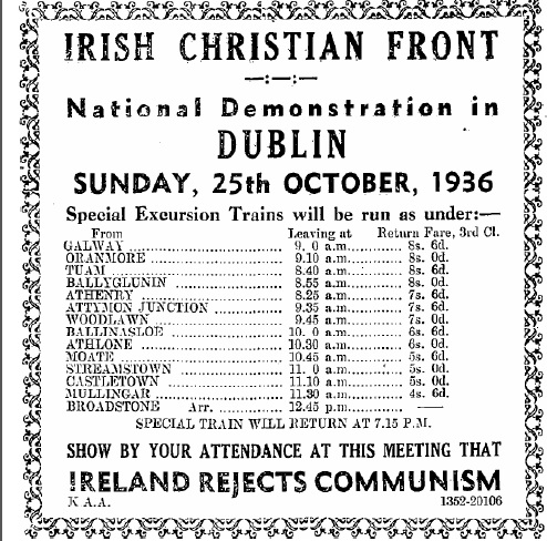 Advertisements like this one were placed in rural newspapers, encouraging people to travel to Dublin for the I.C.F's national demonstration in October 1936.