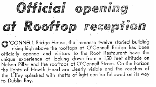 Irish Press report on the opening of the O'Connell Bridge Bulding