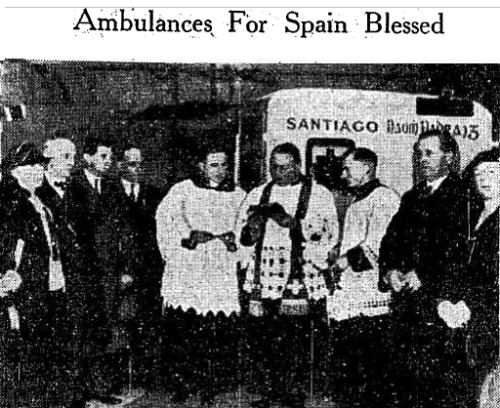 Ambulances which were sent to Spain were first blessed by members of the clergy in Dublin. This image from February 1937 shows the blessing of three ambulances.