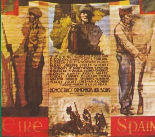 A detailed image of the banner showing the vivid colours within it. Taken from Michael O'Riordan's book 'Connoly Column'.