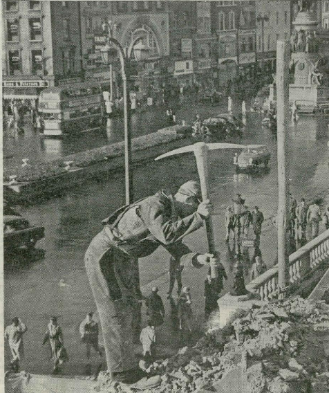 """""""The changing face of Dublin"""" - Trinity News printed this great image of the demolition of the Carlisle House building in 1961 (Image: www.trinitynewsarchive.ie)"""