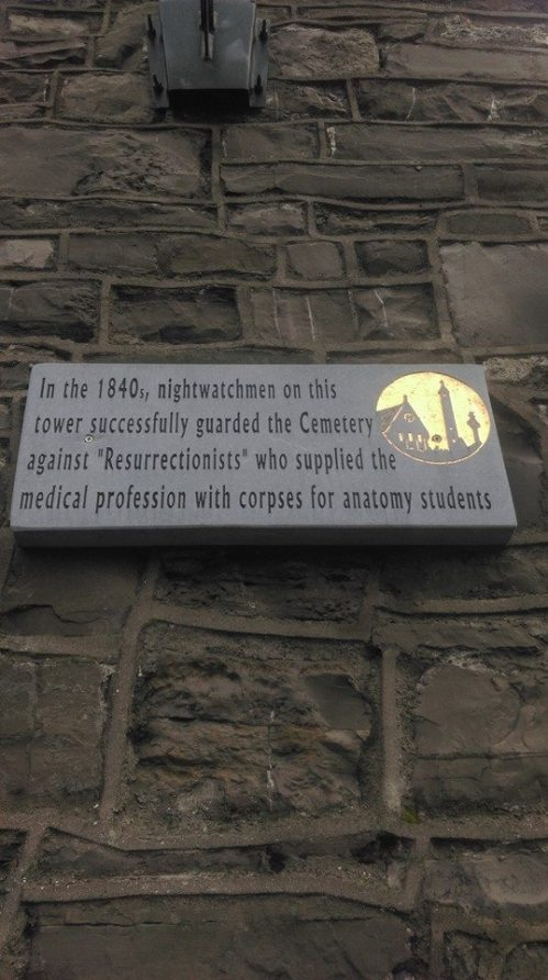A plaque upon one of the Glasnevin watch towers. (Image: CHTM)