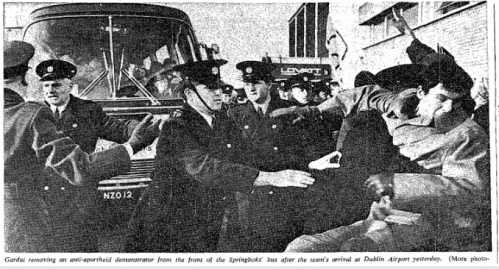 Gardaí drag protestors away from the Springboks tour bus at Dublin Airport, January 1970 (The Irish Times)