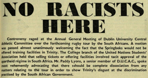Trinity News, student newspaper at Trinity College Dublin, comments on the decision not to allow the Springboks to train on-campus (Via: Trinity News Archive)