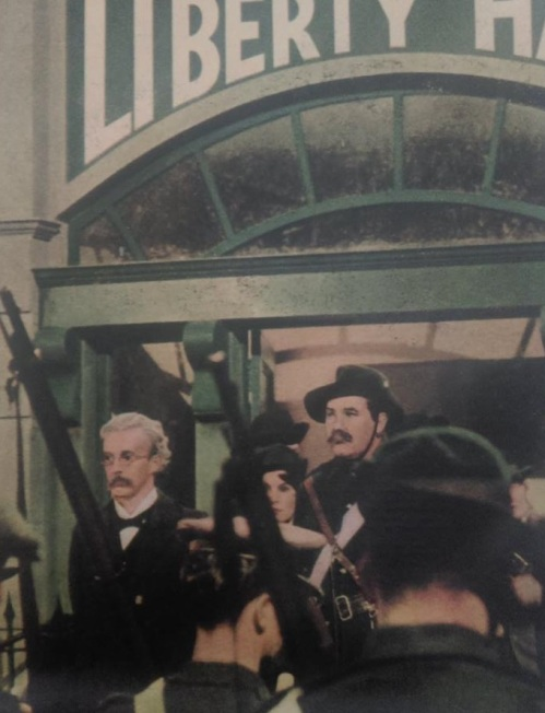 Thomas Clarke and James Connolly on the steps of Liberty Hall.