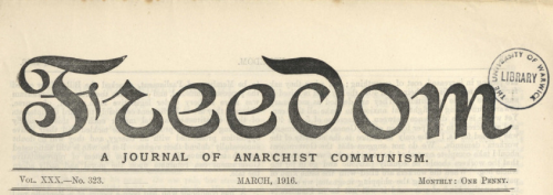 Front cover of Freedom Newspaper (March 1916) - Libcom.com