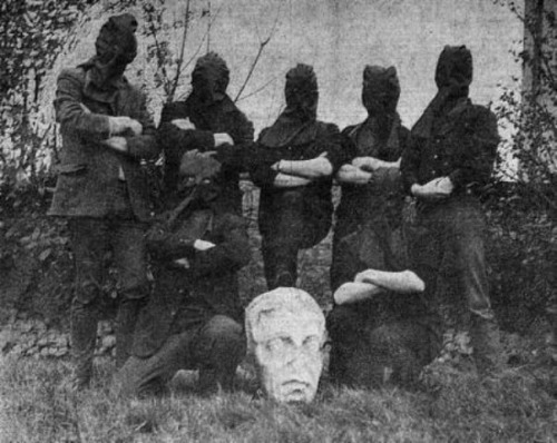 NCAD students with the 'liberated' head of Nelson, 1966.