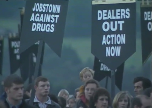 Still from news report showing an anti-drugs march in Tallaght.