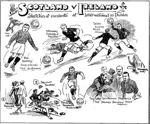 Scenes from the match, including the Lord Lieutenant of Ireland presenting a medal. (Source: http://nifootball.blogspot.co.uk/2010/11/095-15-march-1913.html)