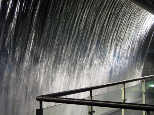 The impressive waterfall inside the Guinness Storehouse tourist attraction today.