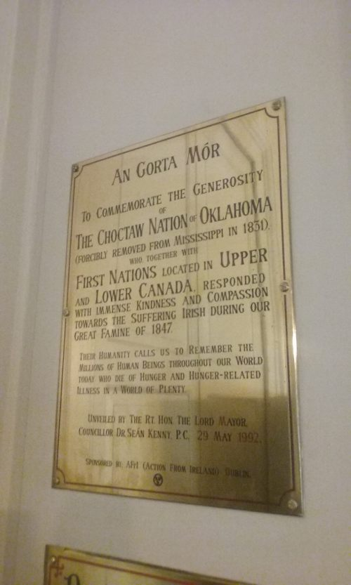 Choctaw Nation plaque, Mansion House.