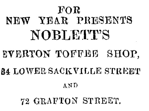 An advertisement for Noblett's, described as one of the first shops to be looted.