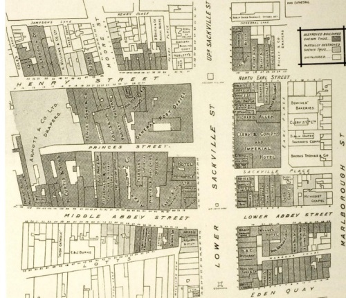 The General Post Office area as shown on a map issued by the Hibernian Fire and General Insurance Company shortly after the Rising. (O'Mahony Collection) (Image Credit: National Library of Ireland, http://www.nli.ie/1916/pdf/7.2.pdf)