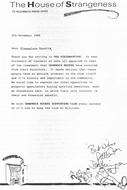 Letter of support from The Housemartins, 1988.