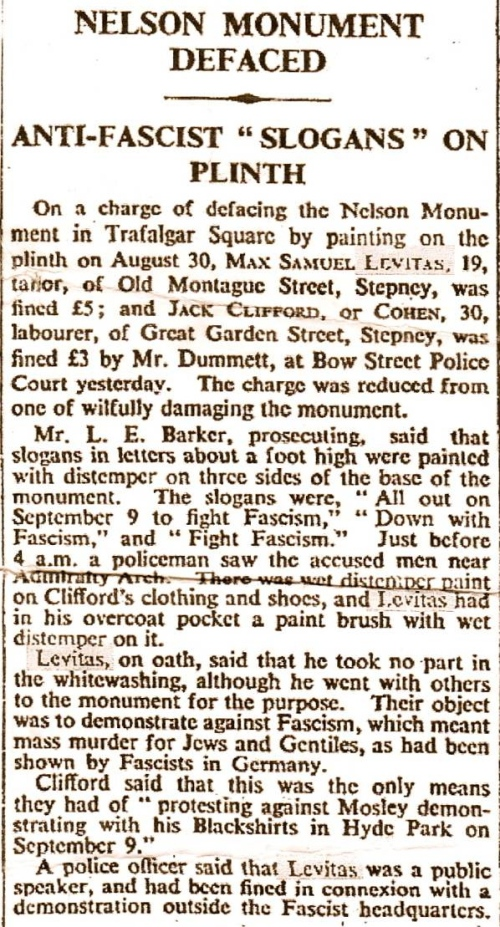 1934 report after his arrest. Newspaper unknown. Credit - Spitalfieldslife.com