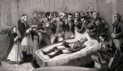 An illustration showing Napoleon after his death of the Island of St. Helena.