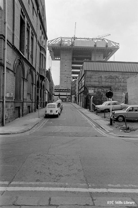 RTE Stills image of Crown Alley before the modern development of Temple Bar, 1970s. The carpark on the right, opposite the Telephone Exchange, is (I think!) where Baker's ironworks once stood.