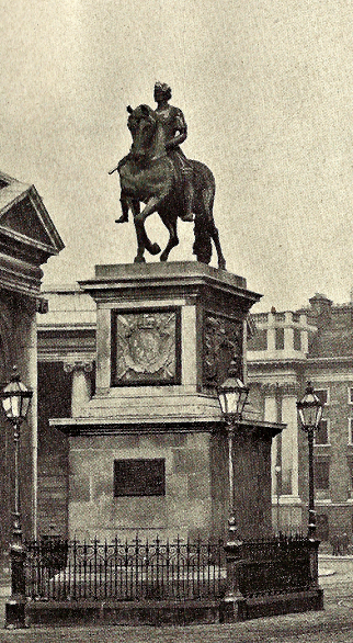 The statue of King William of Orange,College Green. It was bombed on Armistice Day, 1928.
