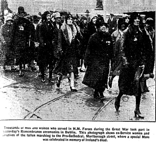 Marching to the Pro Cathedral, November 1930. Remembrance services occurred in both St. Patrick's Cathedral and the Catholic Pro Cathedral.