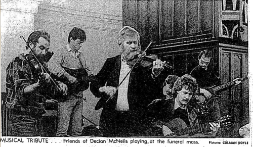 The funeral of Declan McNelis (Irish Times, 16 April 1987)