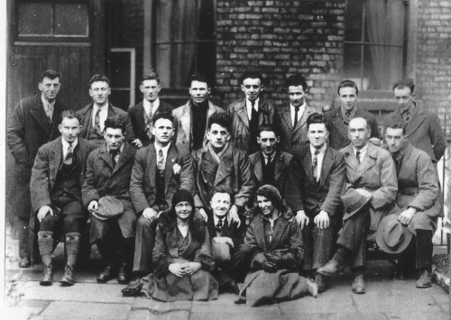 Frank Ryan and George Gilmore, both veterans of Poppy Day riots who later organised left-wing anti-war alternative ceremonies, appear in this picture of IRA prisoners released in 1932 (NLI, but brought to our attention by Village, see above linked article)
